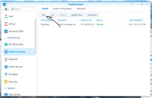 Control Panel > External Access > DDNS