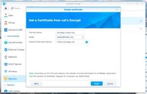 Create certificate - Get a certificate from Let's Encrypt