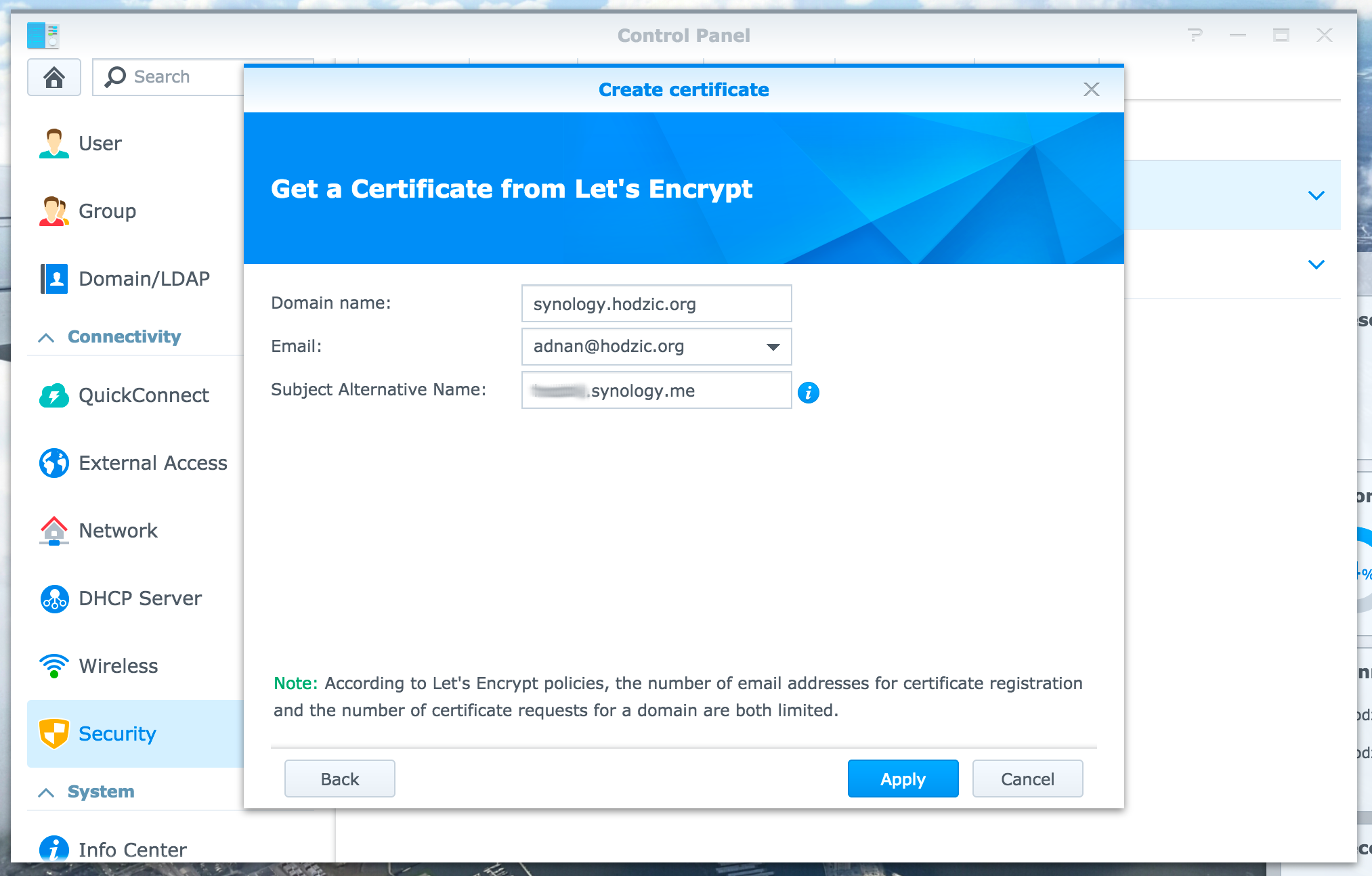 Secure (HTTPS) public access to Synology NAS using Let's Encrypt