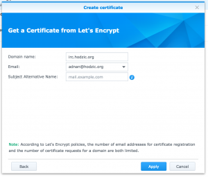 Get a certificate from Let's Encrypt for irc.hodzic.org