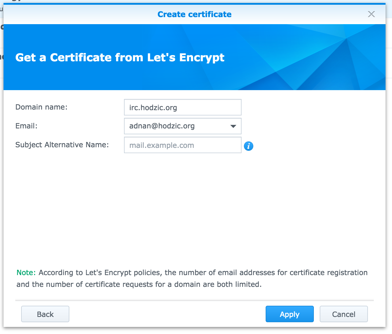 Secure traffic to ZNC on Synology with Let's Encrypt – FoolControl